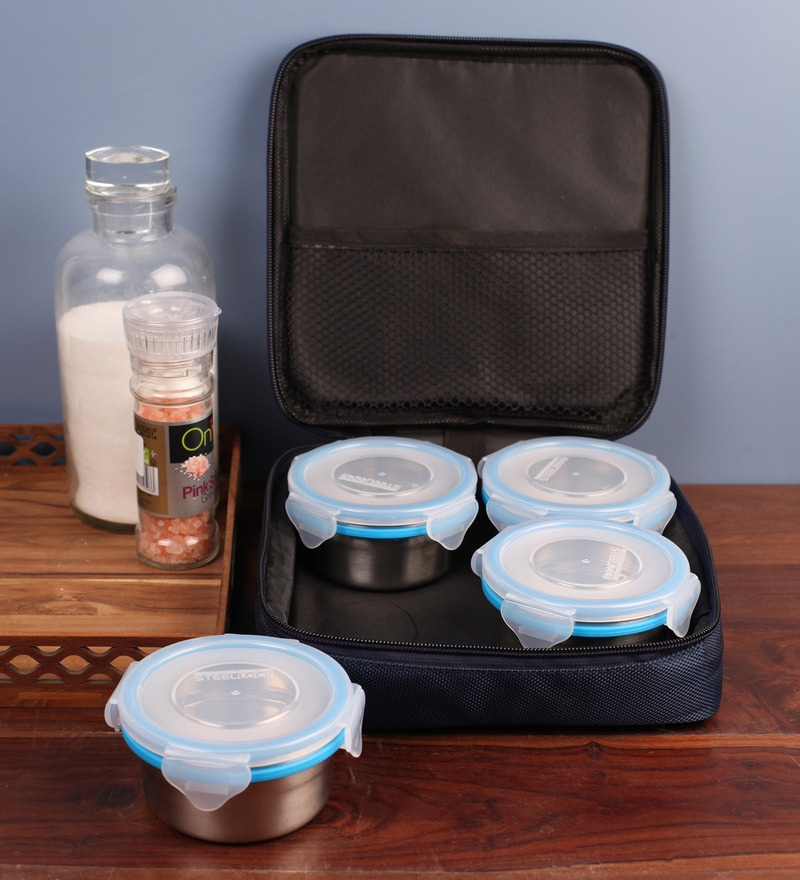 Steel Lock Airtight 4 pc Lunch Meal Tiffin Box with Insulated Bag