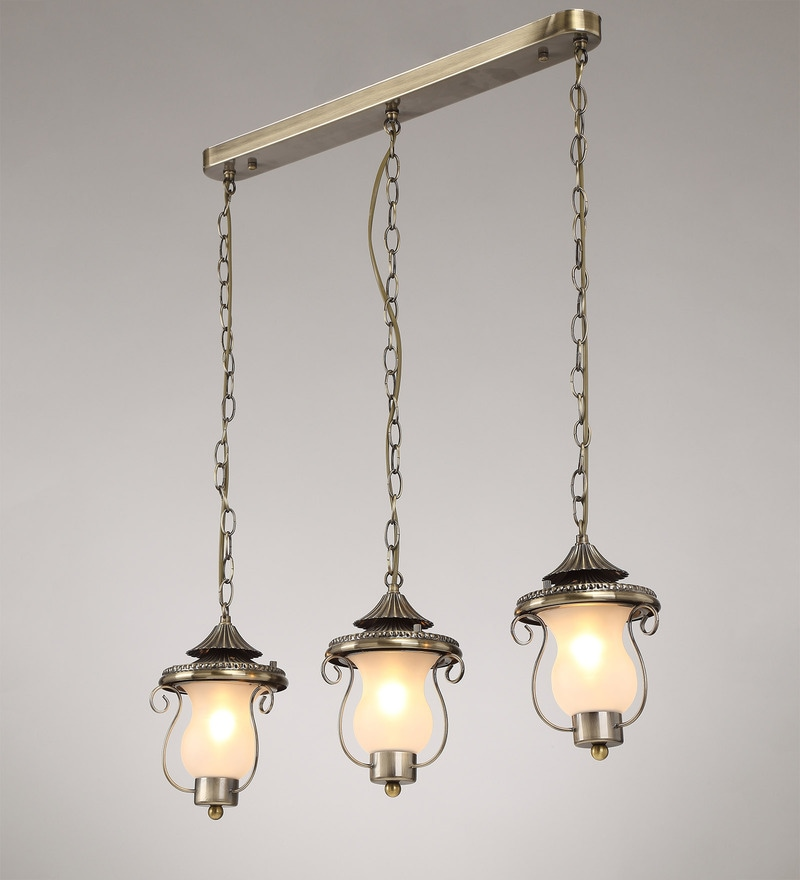 Antique Brass Metal and Glass Pendant by Stello
