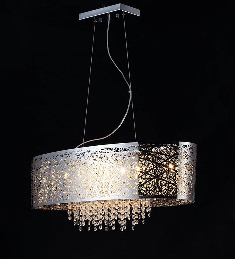 Chrome Metal and Crystal Chandelier by Stello