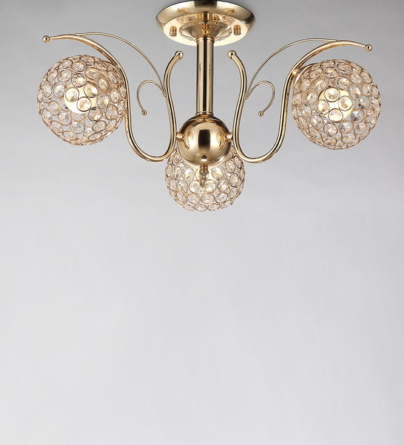 Gold Metal & Crystal Chandelier by Stello
