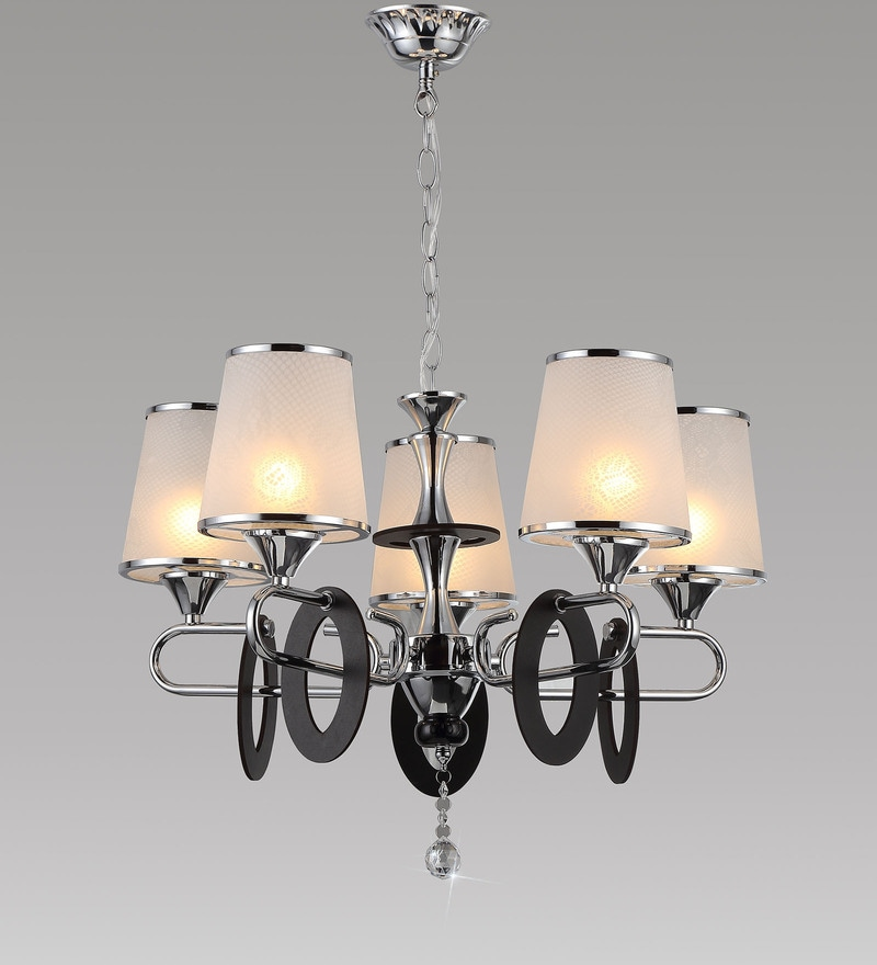 White and Silver Metal and Crystal Chandelier by Stello