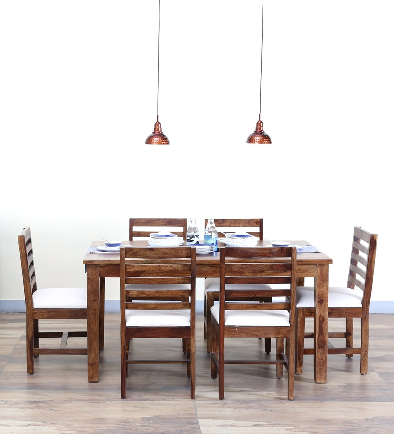 Stigen Six Seater Dining Set in Provincial Teak Finish by Woodsworth