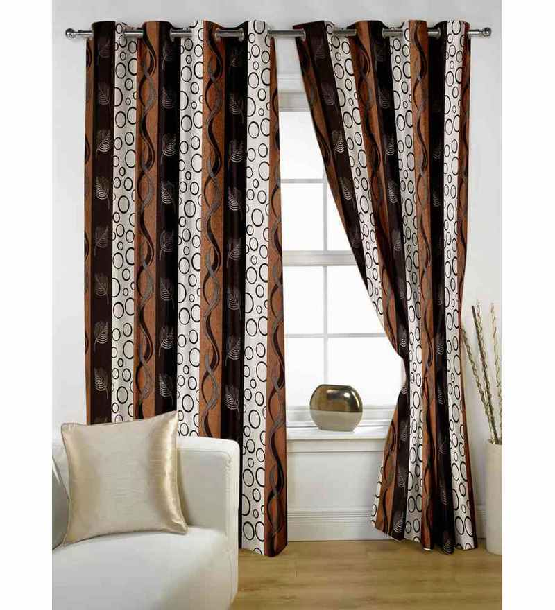 Story@Home Multicolour Polyester 84 x 48 Inch Abstract Door Curtain  - Set of 2