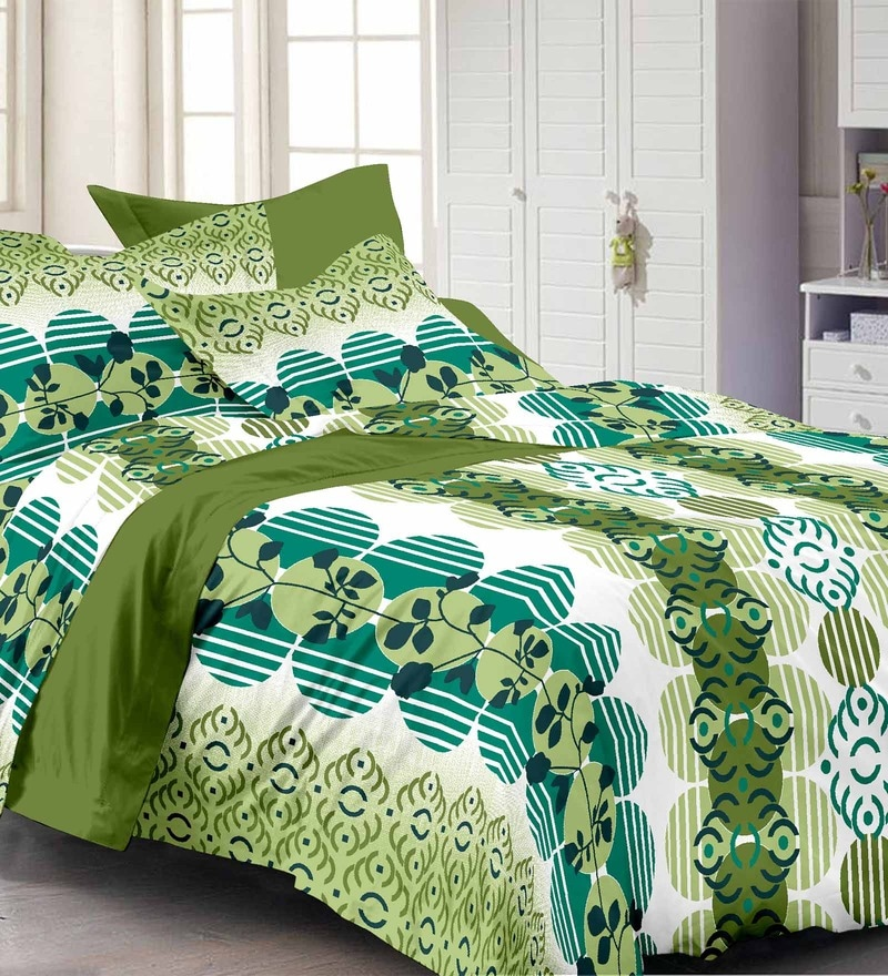 Multicolour Nature & Florals Cotton Queen Size Bed Sheets - Set of 3 by Story@Home