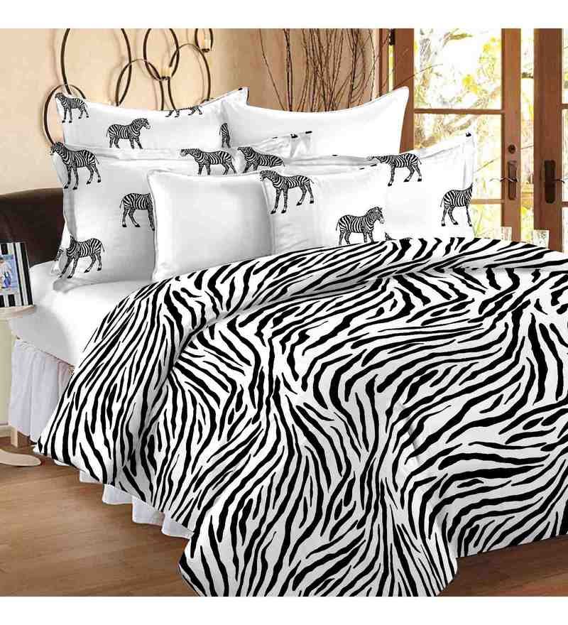 White And Black 100% Cotton 88 X 100 Inch Metro Bed Sheet Set by Story@Home
