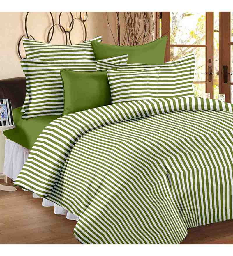 White & Green 100% Cotton 57 X 88 Inch Spark Bed Sheet Set by Story@Home
