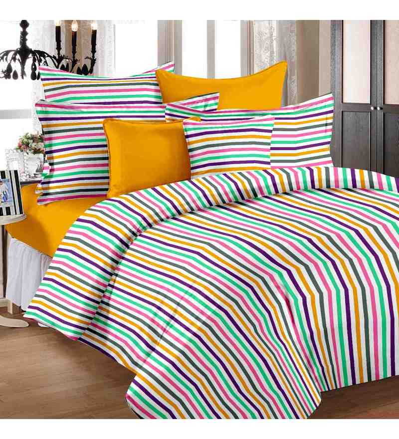 Multicolor 100% Cotton 57 x 88 Inch Trendz Bed Sheet Set - Set of 2 by Story@Home
