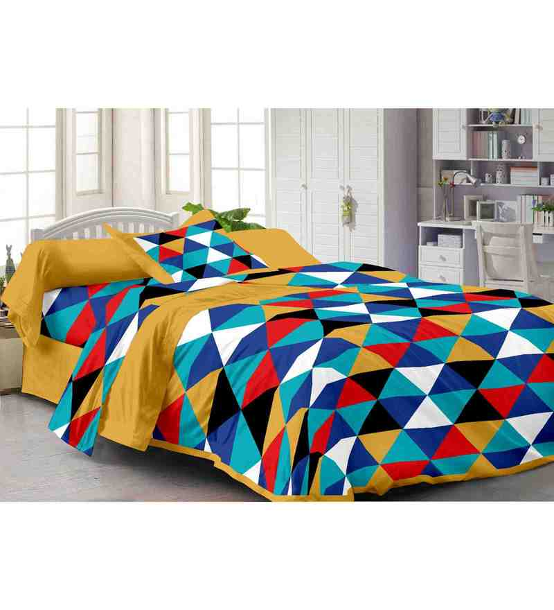 Yellow 100% Cotton 88 x 100Inch Fashion Bed Sheet Set by Story@Home
