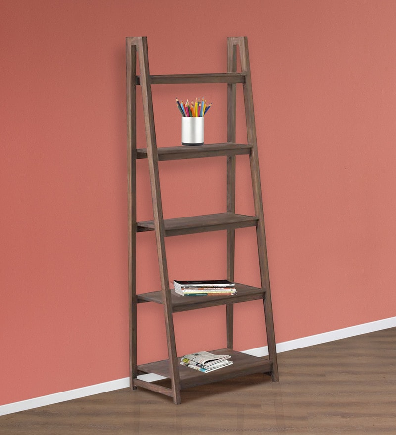 Strut Display Unit cum Book Shelf in Dark Brown Colour by Asian Arts
