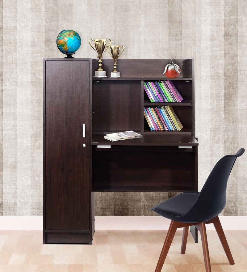 Nakamura Study Table with Cabinet in Dirty Oak Finish by Mintwud