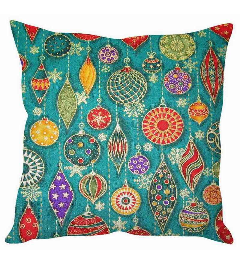 Blue Silk 16 x 16 Inch Christmas Decoration Print Cushion Cover by Stybuzz