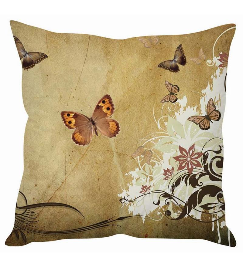 Brown Silk 16 x 16 Inch Cushion Cover by Stybuzz