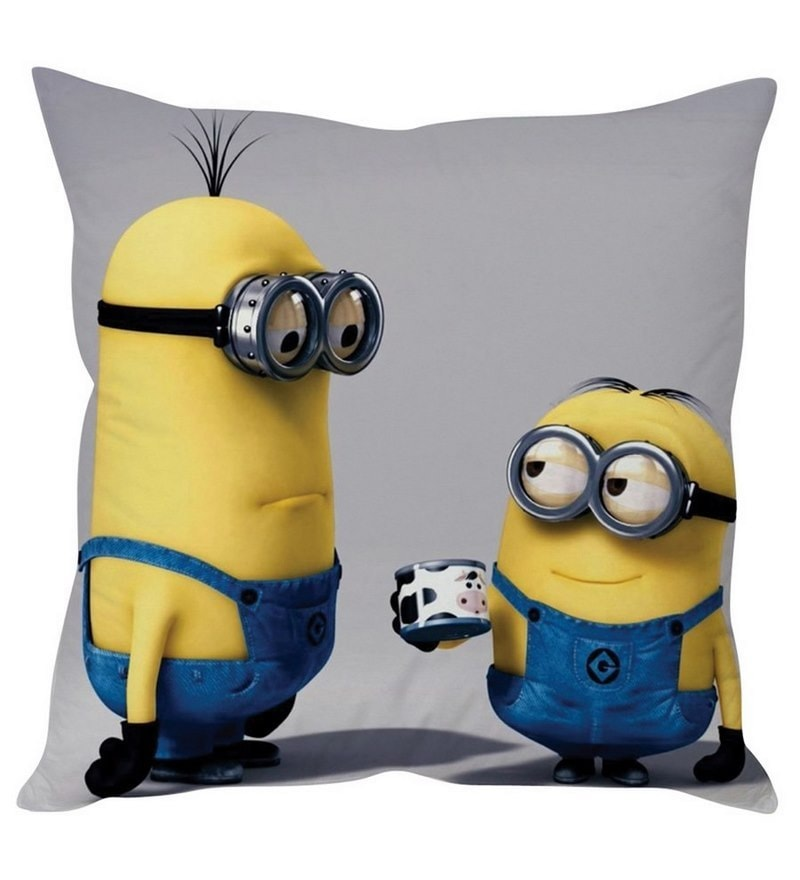Adorable Minions Yellow Silk Cushion Cover by Stybuzz