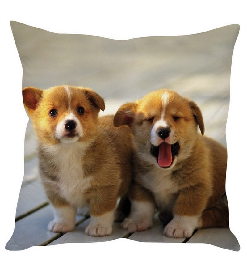 Cute Puppies White Silk Cushion Cover by Stybuzz