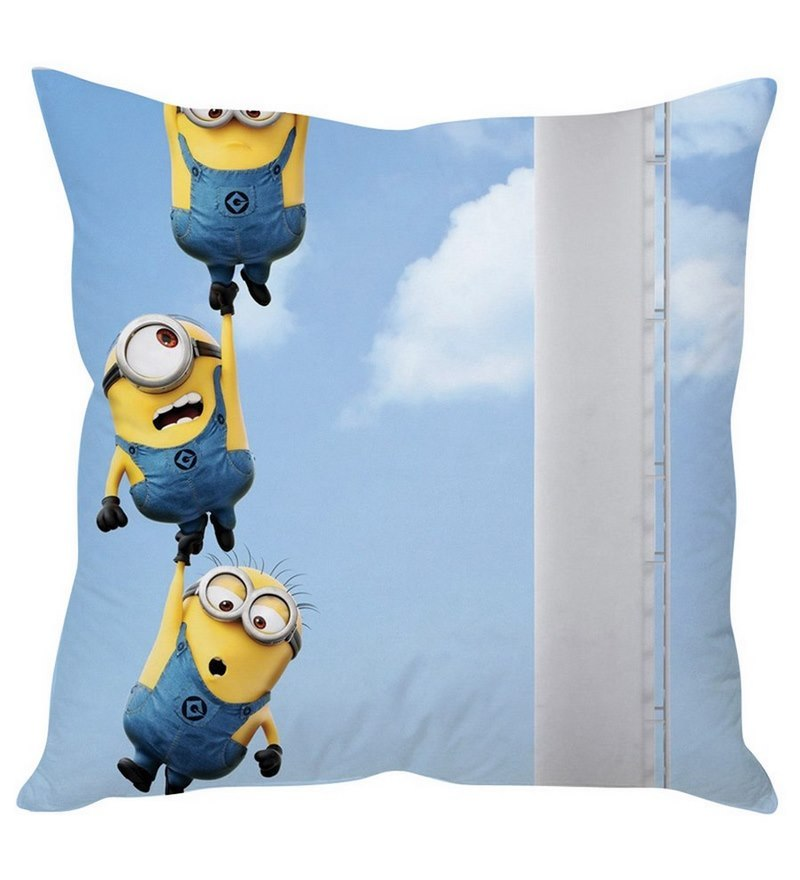 Hanging Minions Blue Silk Cushion Cover by Stybuzz