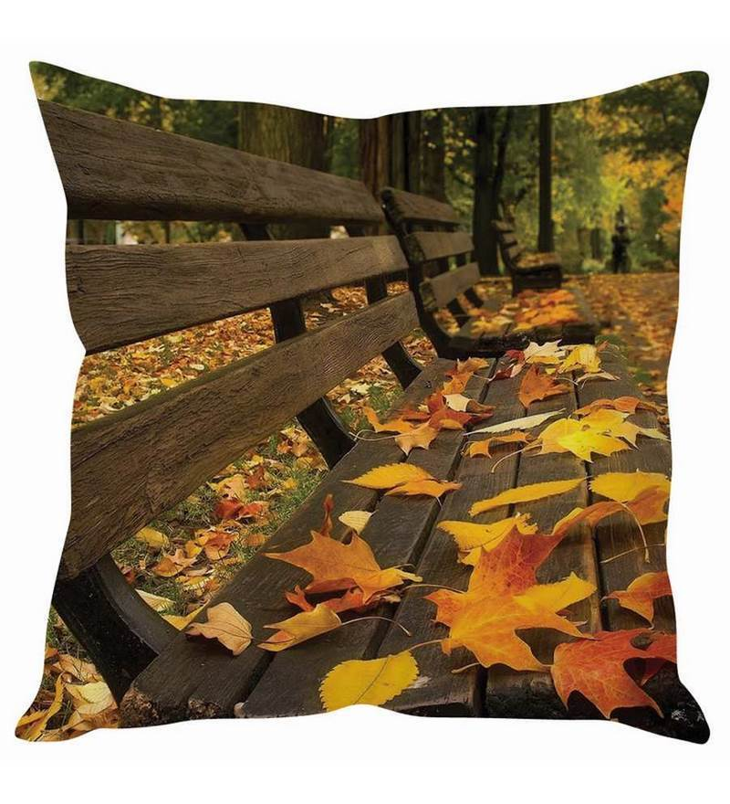 Multicolor Silk 16 x 16 Inch Autumn Bench Cushion Cover by Stybuzz