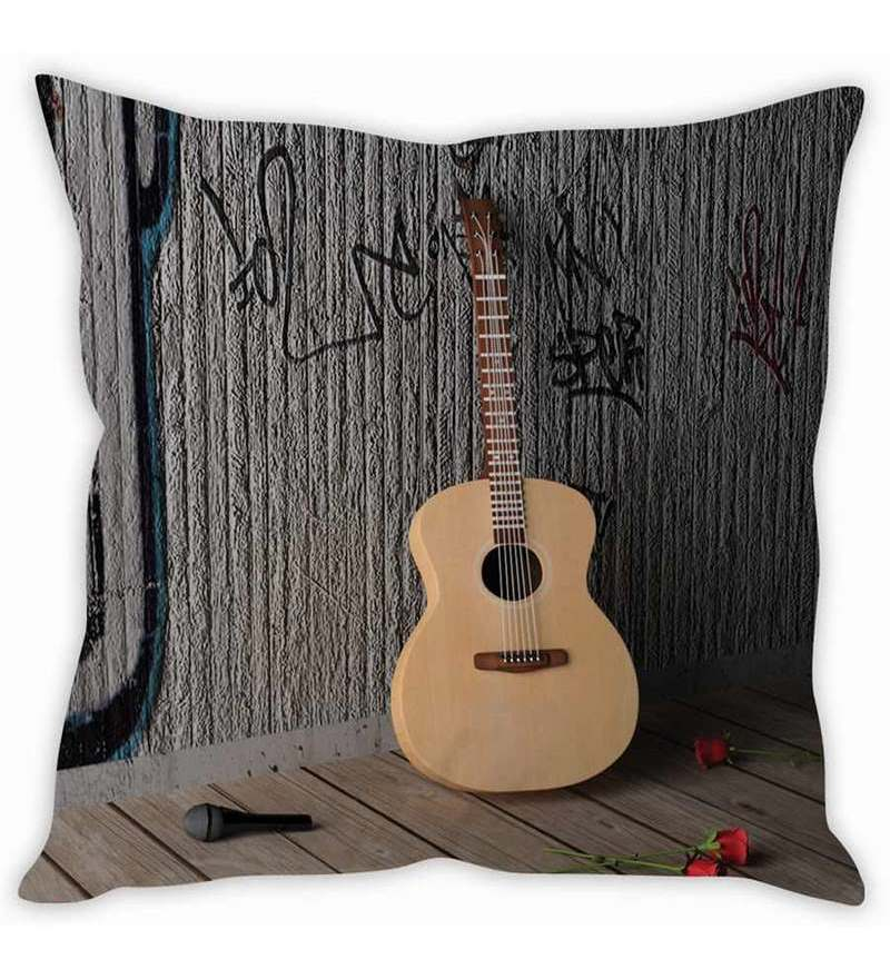 Multicolor Silk 16 x 16 Inch Guitar on Wall Taffeta Cushion Cover by Stybuzz