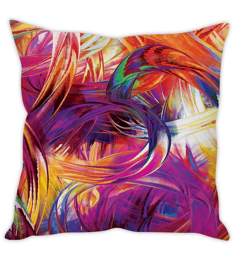 Multicolor Silk 16 x 16 Inch Stroke Cushion Cover by Stybuzz