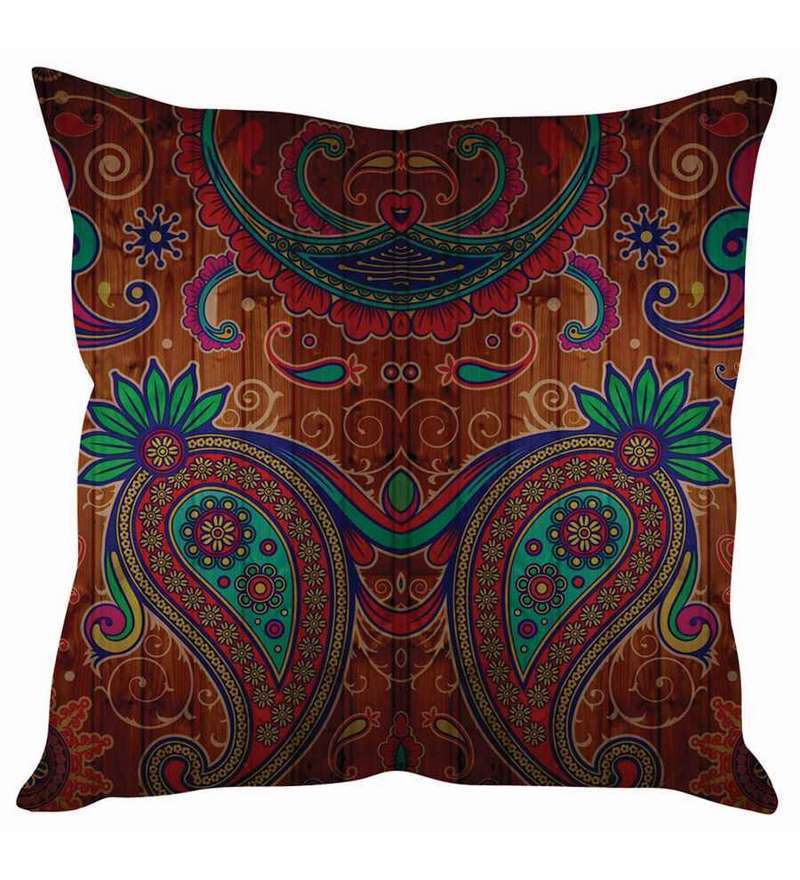 Multicolor Silk 16 x 16 Inch Traditional Cushion Cover by Stybuzz