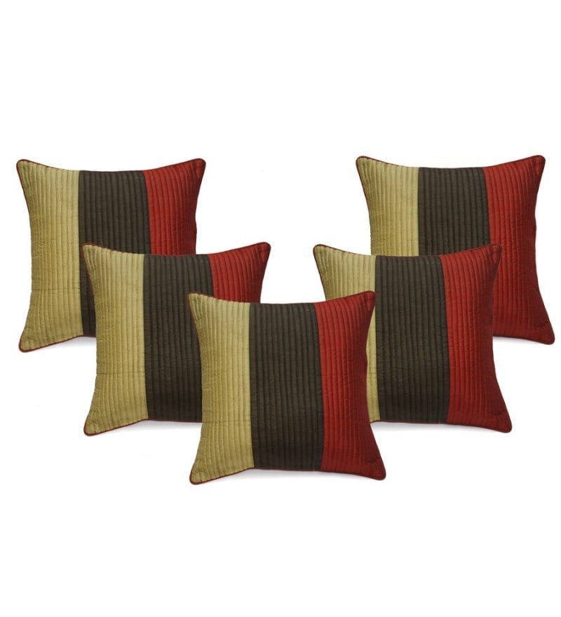 Multicolour Duppioni 16 x 16 Inch Cushion Covers - Set of 5 by Stybuzz