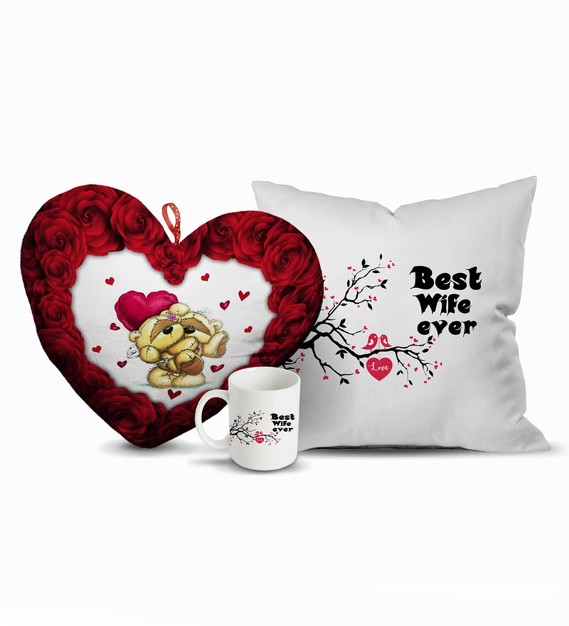 Multicolour Velvet 12 x 12 Inch Valentines Day Best Wife Gift Combo Cushion Cover with Insert by Stybuzz