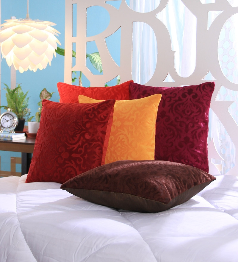 Multicolour Velvet 16 x 16 Inch Cushion Covers - Set of 5 by Stybuzz