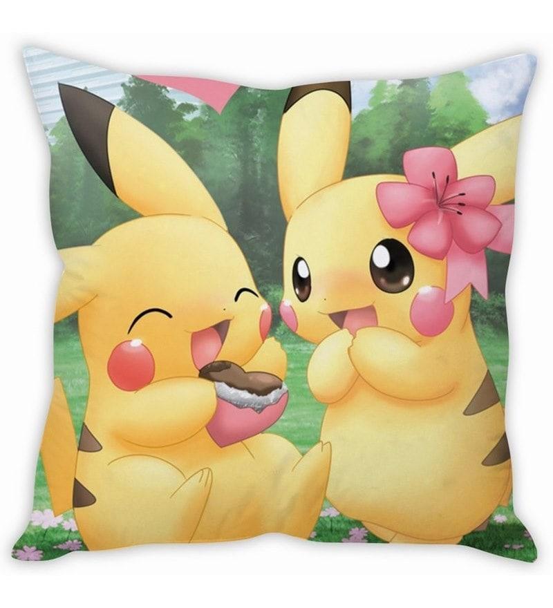 Pikachu Love Multicolour Silk Cushion Cover by Stybuzz