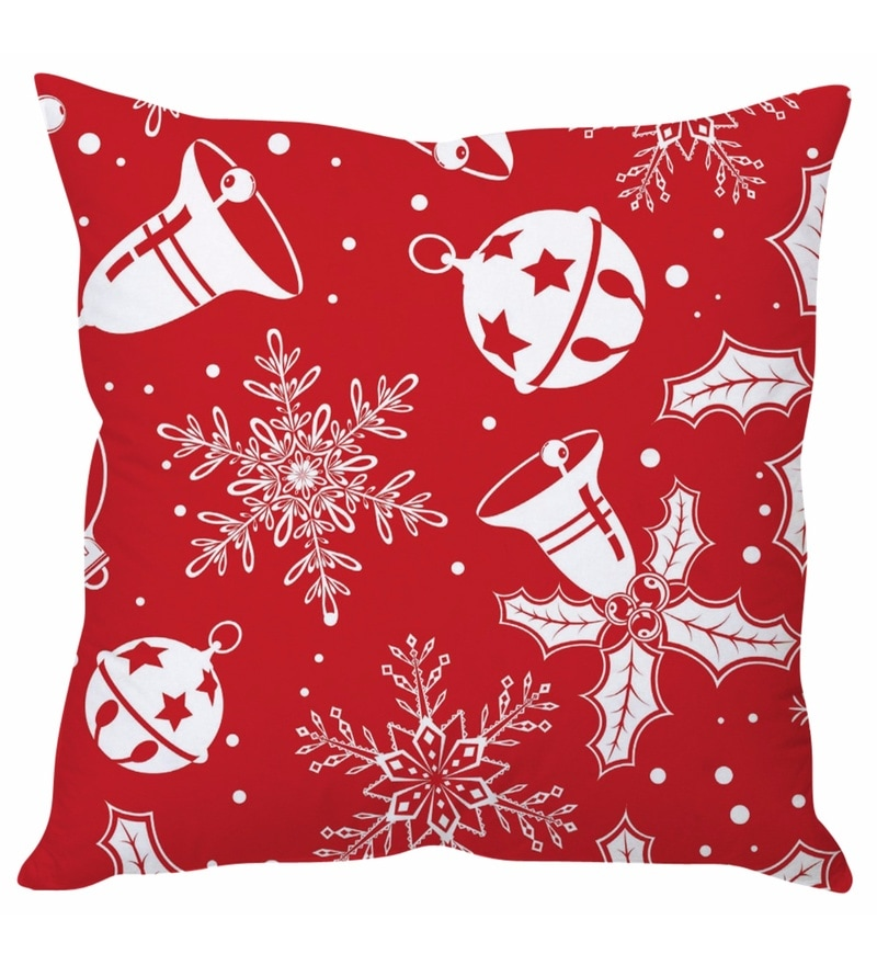 Red 100 % Polyester 16 x 16 Inch Red Christmas Cushion Cover by Stybuzz