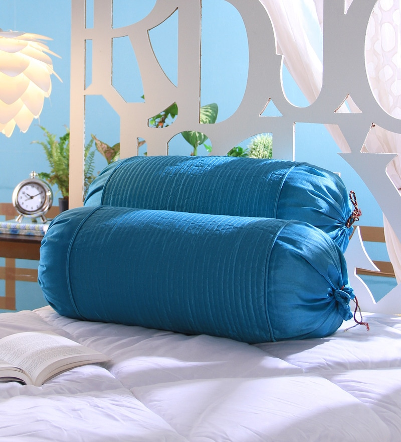 Sky Blue Dupion Silk 16 x 30 Inch Bolster Covers - Set of 2 by Stybuzz