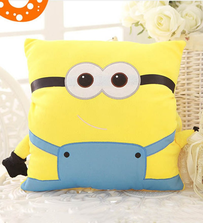 Yellow Velvet 16 x 16 Inch Minion Cushion Cover with Insert by Stybuzz