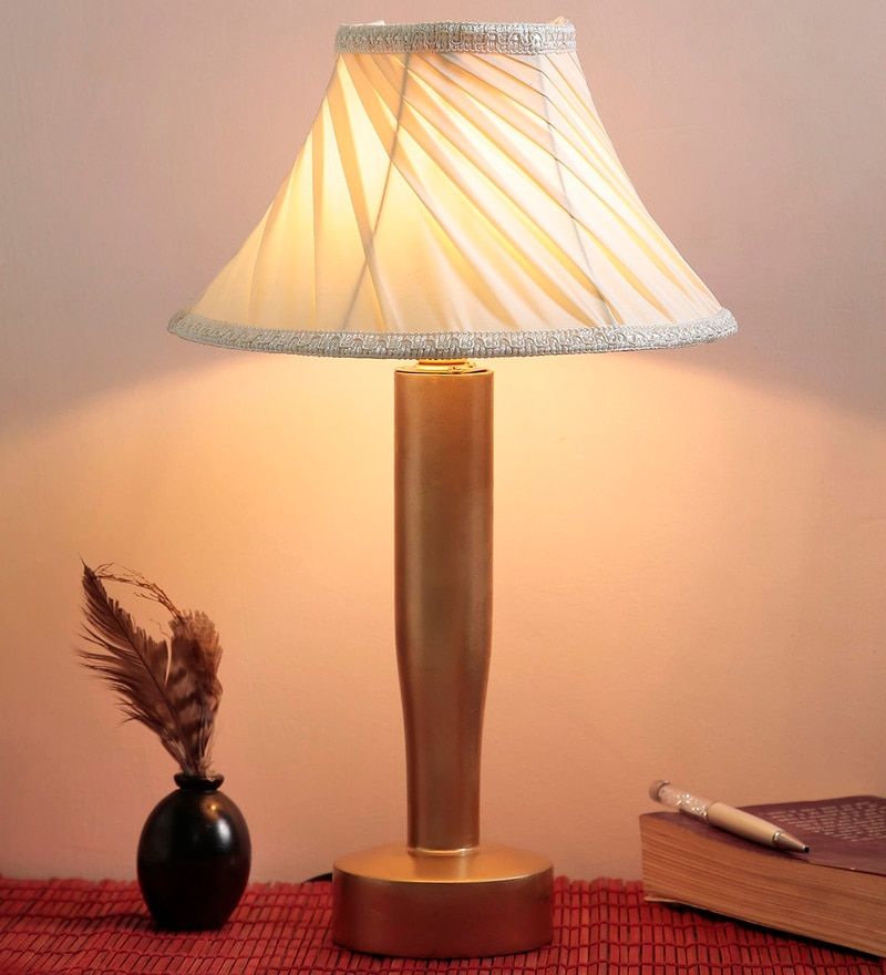 White Fabric Table Lamp by Style Home