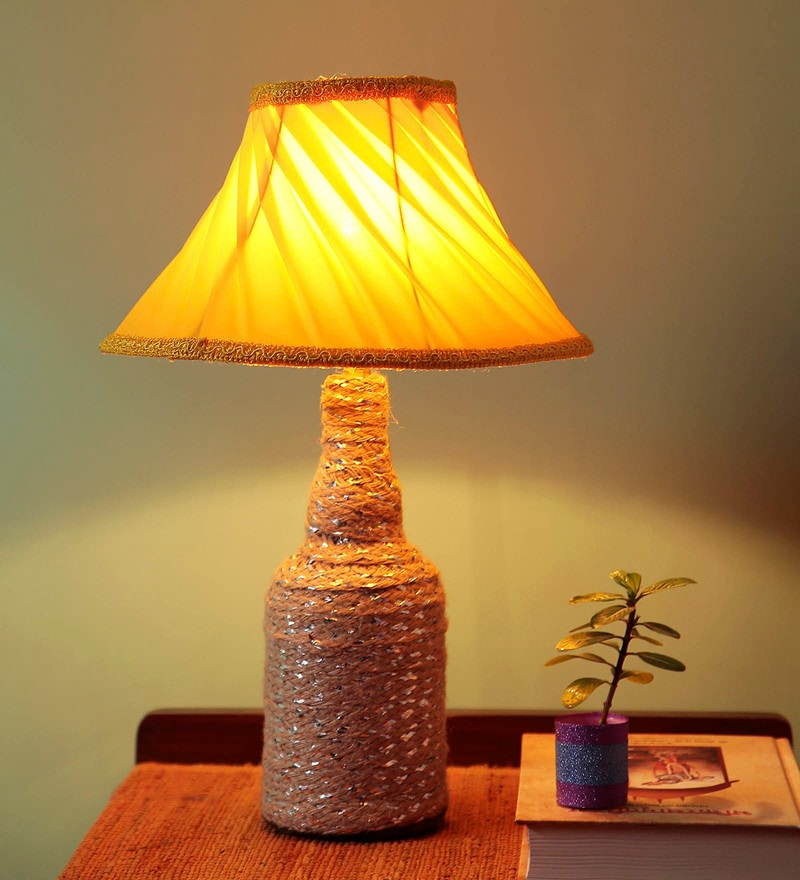 Yellow Fabric Table Lamp by Style Home