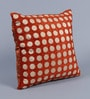 Orange Velvet 16 x 16 Inch Polka Dots Embroidered Cushion Cover - Set of 5 by Stybuzz