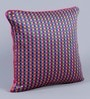 Pink Dupion Silk 16 x 16 Inch Colour Block Embroidered Cushion Cover - Set of 5 by Stybuzz