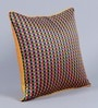 Yellow Dupion Silk 16 x 16 Inch Colour Block Embroidered Cushion Cover - Set of 5 by Stybuzz