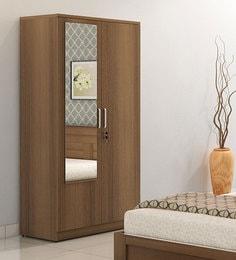 Subaru Two Door Wardrobe With Mirror In Bronze Walnut Finish
