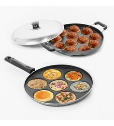 Sumeet Nonstick Delight Combo Of Multi Snack Maker & Grill Appam Patra - Set Of 2
