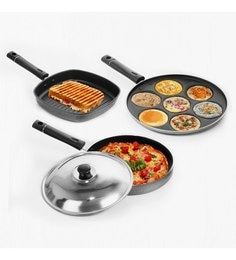 Sumeet Nonstick Premier Combo Multi Snack Maker & Grill Pan + Pizza Pan With 1 Lid - Set Of 3