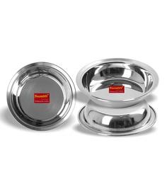 Sumeet Stainless Steel Heavy Gauge Multi Utility Serving Plates - Set Of 3