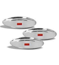 Sumeet Stainless Steel Heavy Gauge Shallow Dinner Plates - Set of 3  sc 1 st  Pepperfry & Metal Plates: Buy Stainless Steel Dinner Plates Online in India at ...