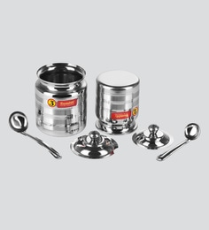 Sumeet Stainless Steel Oil And Ghee Pot Set -  No. 2  350ML - 6.5cm Dia  - No.3 - 500ML - 7.5cm Dia