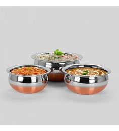 Sumeetstainless Steel Copper Bottom Prabhu Chetty Handis - Set Of 3