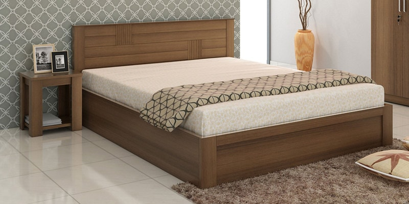 Subaru King Size Bed with Box Storage & Bedside Table in Bronze Walnut Finish by Mintwud