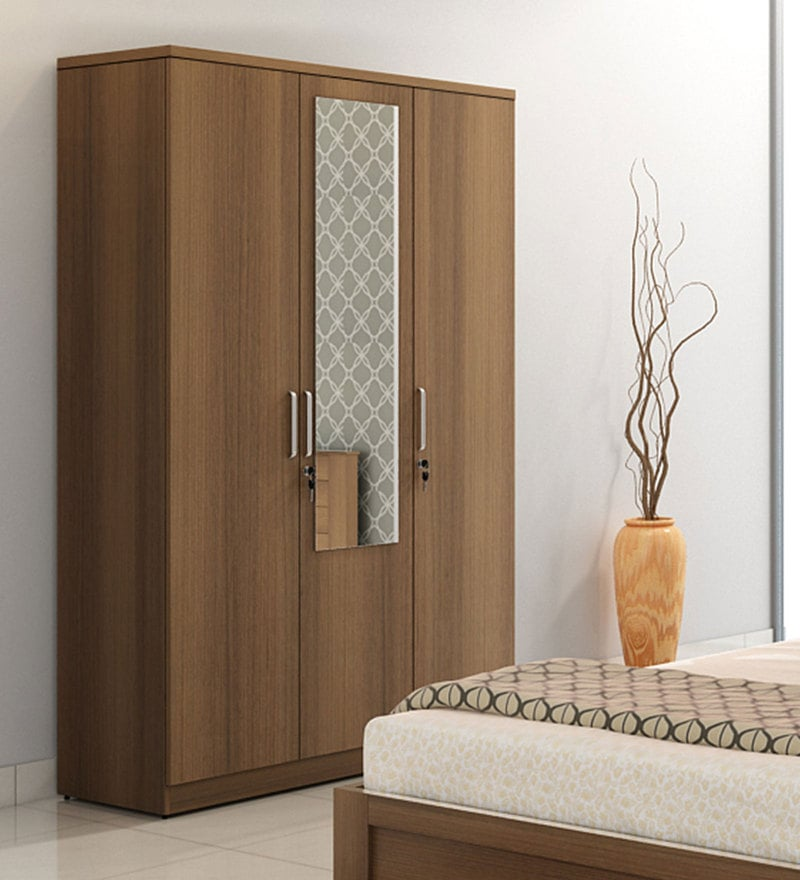 Subaru Three Door Wardrobe with Mirror in Bronze Walnut Finish by Mintwud