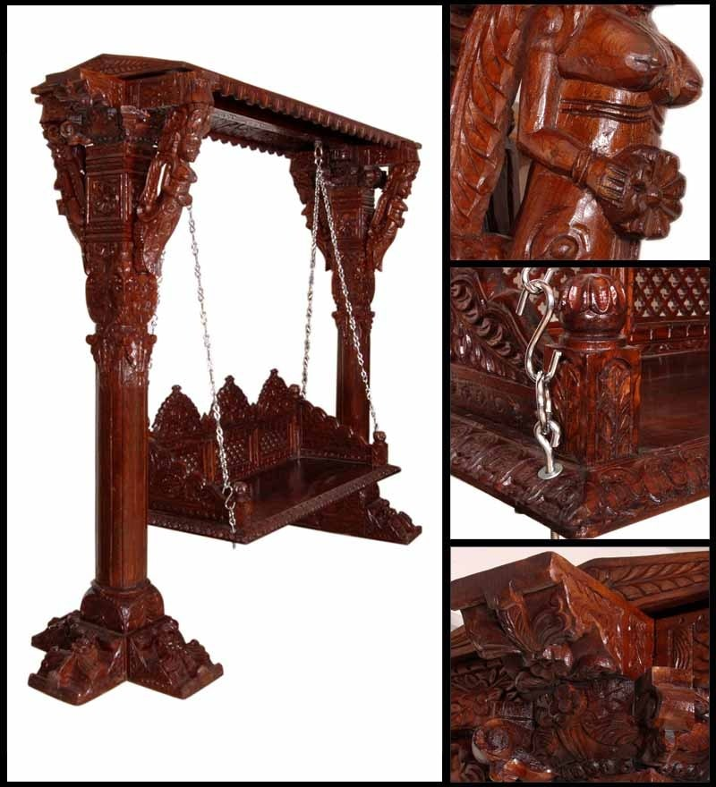 Buy Hindola Wooden Carved Swing In Honey Oak Finish By