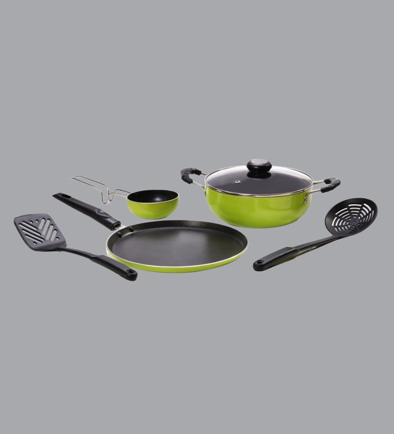 0ea426b7104 Mahavir Induction Base Stainless Steel Cookware with Yellow Handle ...