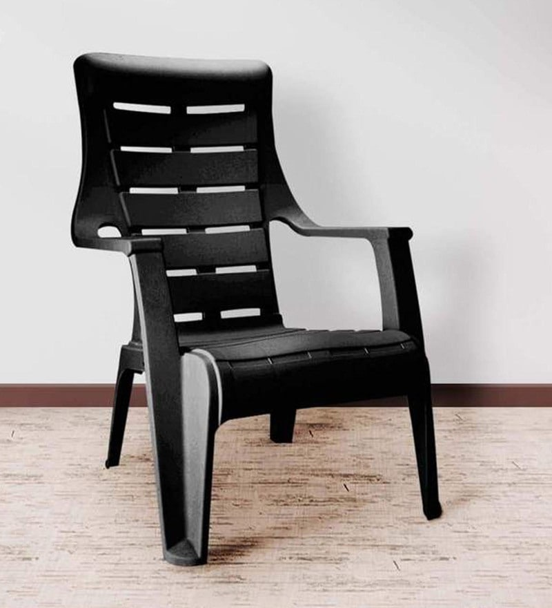 Sunday Outdoor Arm Chair in Black Colour by Nilkamal