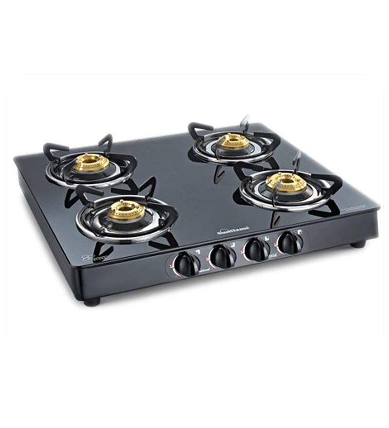 Sunflame Classic 4B BK/SS Extra Spacious Toughened Glass Cooktop