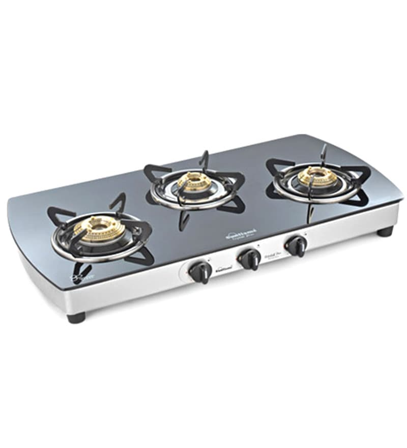 Sunflame Crystal Plus Toughened Glass 3-burner Cooktop