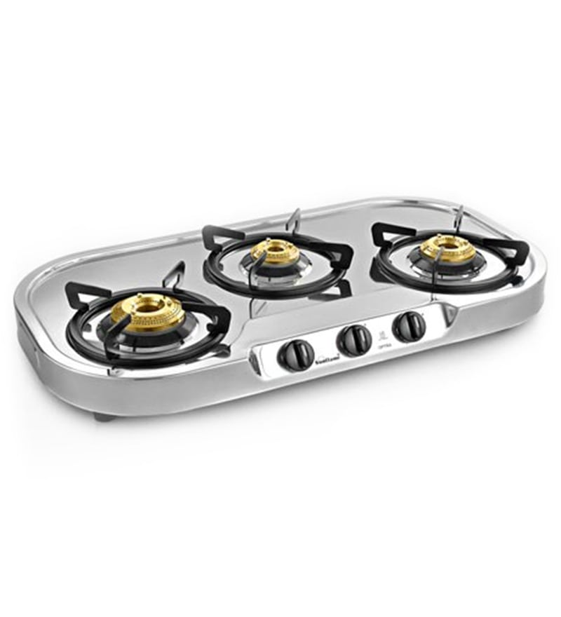 Sunflame Optra Stainless Steel 3-burner Cooktop